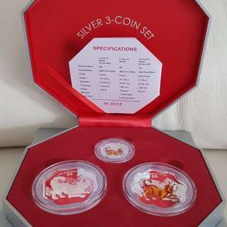 Singapore Mint 2018 Year of Dog Silver 3-coin Set