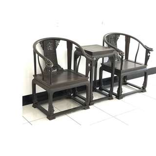 【景徽軒古傢俬】~~~ (近代) 黑紫檀 皇宮圈椅三件套 KA063
