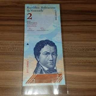 全新直版 2012年 委內瑞拉2元