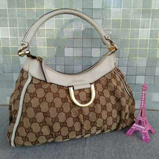 Gucci D Ring Canvas GG small hobo bag