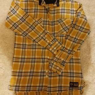 BLVD yellow plaid button up. Size S