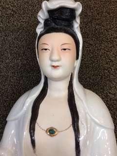 Porcelain-坐蓮花观音H47cm