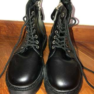 Brand New In Packaging / Box Black Dr Martin Shoelace Lace Up Zip High Ankle Platform Boots