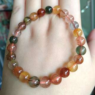🏵️Natural Red, Yellow, Black Golden Rutilated Quartz Beads Bracelet🏵️