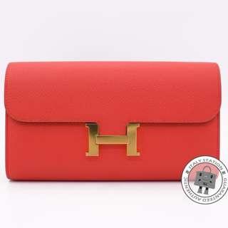 (NEW)Hermes H063626 CONSTANCE EPSOM LONG WALLET GHW, ROSE JAIPUR / CCT5 全新 銀包 橙紅色 金扣