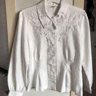 VINTAGE 80s Japanese Blouse (White)