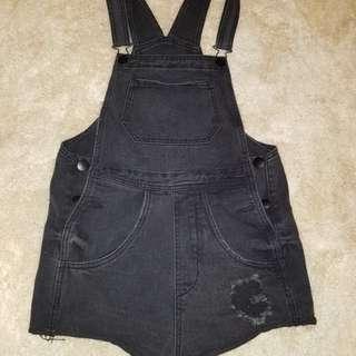 Black denim overalls. Size 8