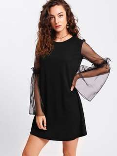 Contrast mesh sleeve dress