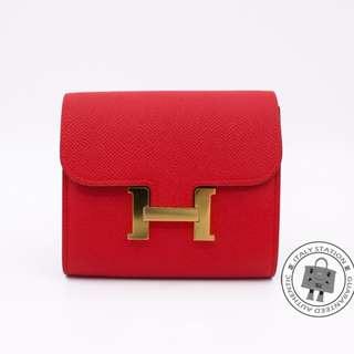 (NEW) Hermes H061865 CONSTANCE EPSOM SHORT WALLET GHW, ROUGE TOMATE / CCS5 全新 銀包 紅色 金扣