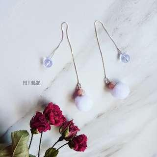 925 silver long thread pompom earrings