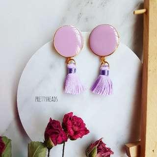 Pastel lavender tassel earrings