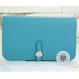 (NEW) Hermes DOGON COMPACT TOGO LONG WALLET PHW, TURQUOISE / CK7B 全新 銀包 藍色 銀扣