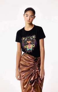 Kenzo 2018 100%Real 可驗Tshirt women black gold tiger