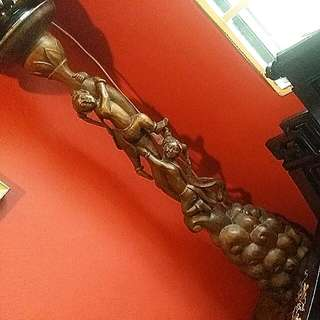 Chinese Antique  Wood Carving Tall Vase Stand