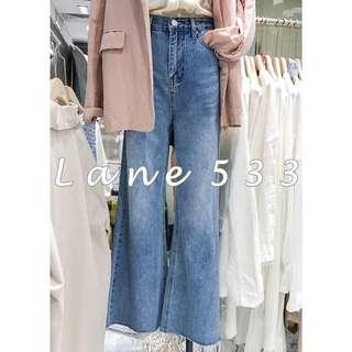 Korea韓國🇰🇷刷色高腰喇叭寬褲