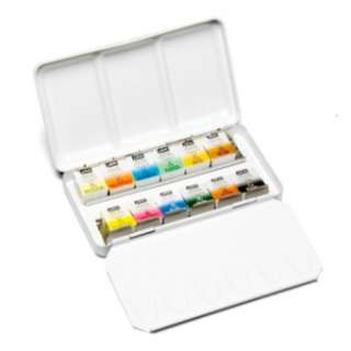 PEBEO Watercolour Paint 1/2 Pan Travel Metal Case Set x 12