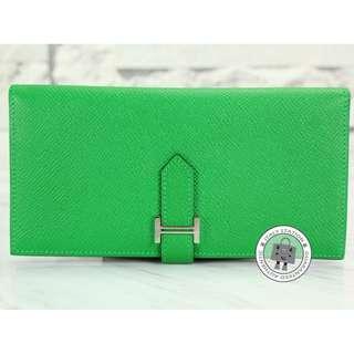 (NEW) Hermes BI-FOLD (THIN) PORTEFEUILLE BEARN SOUFFLET EPSOM LONG WALLET PHW, BAMBOO / CC1K 全新 銀包 綠色 銀扣