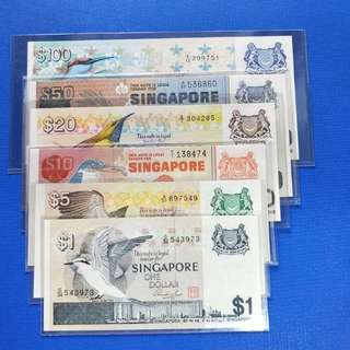 Singapore banknotes bird Series $1,5,10,20,50-100