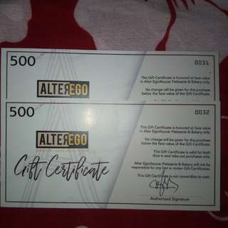 Alter Ego Gift Certificate