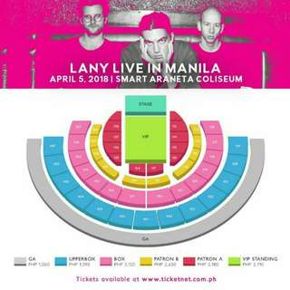 LANY TICKET DAY 1 LOWER BOX SEAT SECTION 301