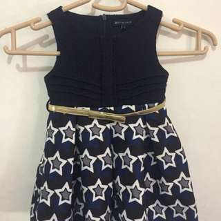 Periwinkle Navy Blue Party Sunday Dress with Belt 1Y