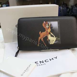 Givenchy Bambi Print Saffino Zip Around Wallet