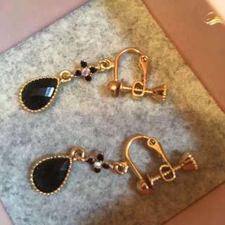 日本黑色閃石耳環