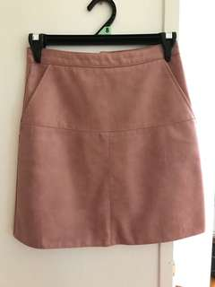 Faux leather/pleather pink skirt size 6/XS a-line