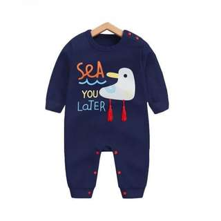 PatPat Lovely Seagulls Pattern Cotton One-piece in Dark Blue for Babies