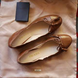 Prada Brown Leather & Tassel Bow Detail Ballet Flats