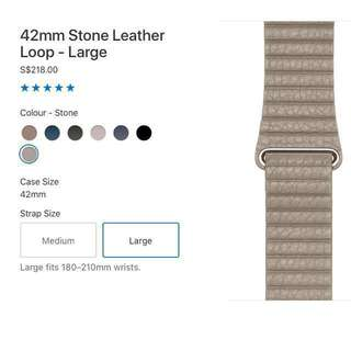 Apple Watch Strap 42mm (L) Stone Leather Loop