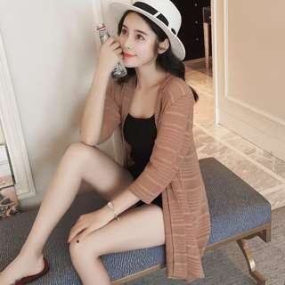 Solid Coloured Korean Style 3/4 Sleeves Long Section Cardigan