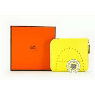 (NEW)Hermes EVELYNE H DOTS ZIP GOAT SHORT WALLET PHW, LIME / 9R 全新 銀包 黃色 銀扣