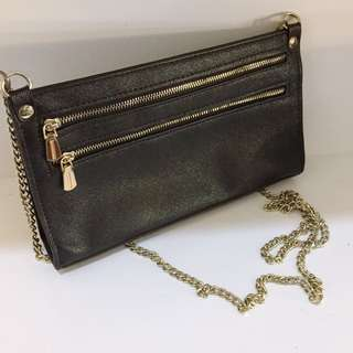 Black and gold chain mini bag