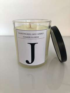 Personalised monogrammed soy wax candle