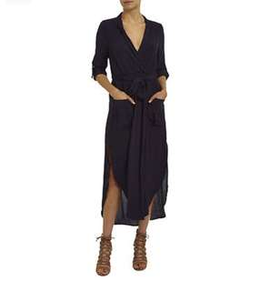 Bardot Navy Wrap Shirt Maxi Dress