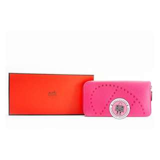 (NEW)Hermes EVELYNE H DOTS ZIP CHEVRE LONG WALLET PHW, ROSE TYRIEN / CKE5 全新 銀包 粉紅色 銀扣