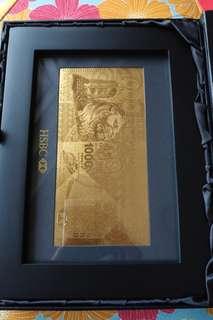 全新 HSBC 匯豐銀行紀念 24k金 $1000元抄票擺設連相架