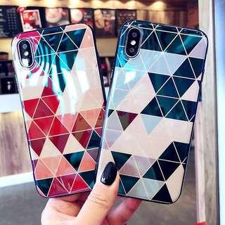 iPhone case 個性幾何三角全包邊手機軟殼 iPhone X/ 8/ 8+/ 7/ 7+/ 6/ 6s/ 6+