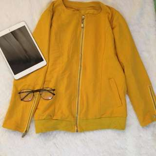 Mustard yellow bomber jacket