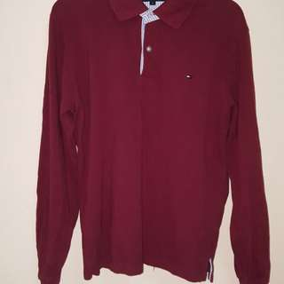 Tommy Hilfiger maroon long sleeve polo