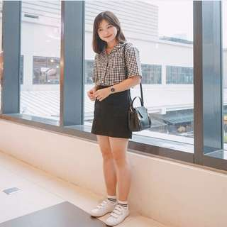 Checkered Gingham Collared Top (Korean Fashion)
