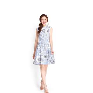LilyPirates Dream Sequence Dress In Blue Striped Florals
