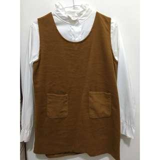 森林系 兩件式 白襯衫