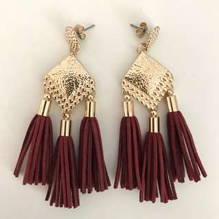 Kookai gold maroon/burgundy earrings