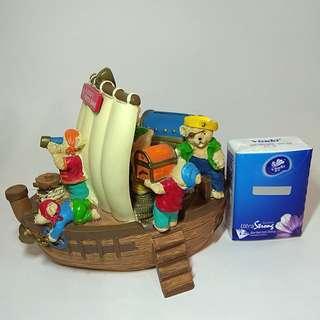 絶版華比富通銀行錢箱熊仔海盜船造型 錢罌 擺設 玩具