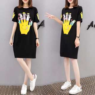 (S~5XL) European station spring and summer printing loose short-sleeved T-shirt long dress