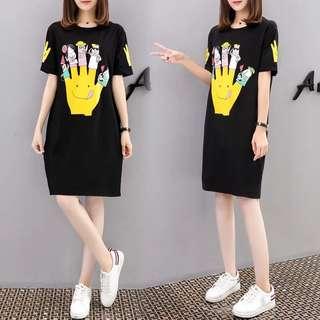 (S~5XL) European station spring and summer printing loose short-sleeved T-shirt long dress