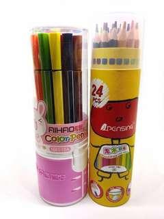 Coloring bundle: 24 pcs. pencils / 18 pcs. pens