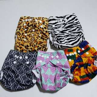 Alva baby printed cloth diapers set of 5